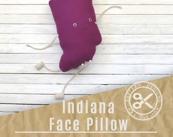 Indiana Pillow PDF Sewing Pattern // State Pillow of Indiana // Indie Pattern Instant Download // DIY Indiana Face Pillow // Indiana Pride