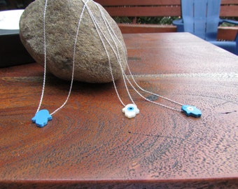 Hamsa hand Opal Silver Necklace