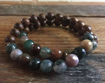 Stackable Mala Inspired Spiritual Junkies Natural Wood and Multicolored Green Agate Yoga and Meditation Bracelet (single bracelet)