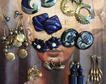 Vintage 1980s Earrings 10 Lot stud Style Brass and Navy Blue