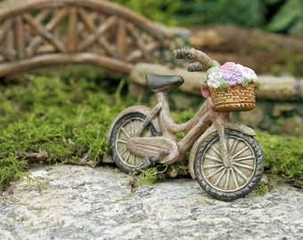 Woodland Fairy Bicycle w/ Flower Basket ~ Miniature Old Fashioned Bikes for Fairies ~ Miniature Bike Fairy Accessory ~ Woodland Garden Decor