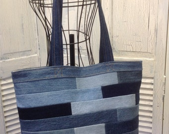 Bleu Redux Upcycle Subway Tile Denim Tote