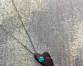 "Sterling Silver Necklace 18"" long with 1 inch Red Sea Glass Heart shaped and turquoise and metal bead."