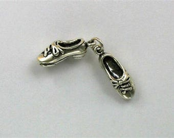 Sterling Silver 3-D Movable Pair of Tap Shoes with Taps Charm