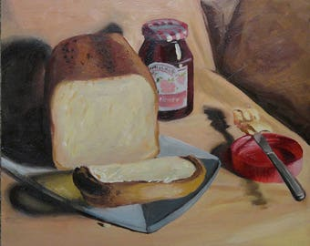 Fresh Baked Bread Original Oil Painting