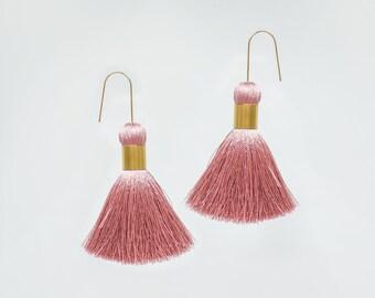 Modern Earrings Minimal Earrings Modern Jewelry Pink Tassel Earrings Gold Earrings Thread Earrings Threader Earrings Gift for Her/ PERLITA