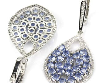 Sterling Silver Rich Blue Violet Tanzanite Gemstone Drop Earrings With AAA CZ Accents
