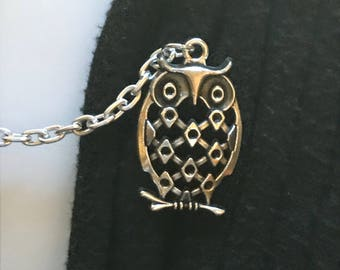 Sweater Pins: Owls In Silver Filigree on Branch