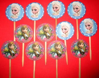 Set of 12 Frozen Elsa and Anna Cupcake Picks Topper Birthday Party