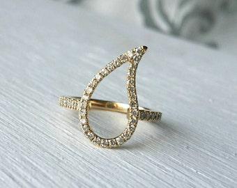 14k gold paisley ring, diamond pinky ring women, 14k gold pinky ring, leaf ring diamond, pave diamond ring gold, gold pave teardrop ring