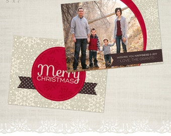 Christmas Card Template for Photographers - 5 x 7 Landscape Flat Card - Winter Berry