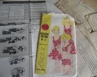 1970's Vintage Family Circle Sewing Pattern No 31, Sundress and Pants and Bikini, sizes 10 -16
