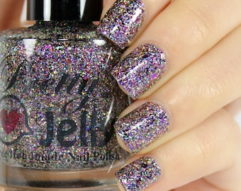 Glitter Nail Polish, Silver Holographic, Indie Lacquer, Multichrome Flakie, Rainbow Chrome Flake, Micro Glitter, Pink Blue, Vegan, CELESTIAL