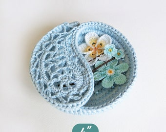"Crochet pattern gift for her, yin yang jewelry dish 4"". Paisley rings plate, Instant download gifts for crocheters. crochet home decor."