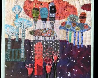 """Mixed media quilt.Fiber art wall hanging . Mixed media wall hanging. Textile art. Quilt art    Snowing on Elke's Garden  10""""x10"""""""