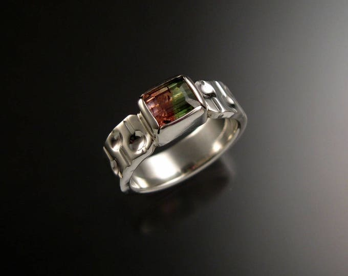 Watermelon Tourmaline Ring Sterling silver Size 8 natural stone handmade Bi-colored Tourmaline Bars and craters ring ready to ship