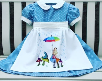 MADE TO FIT Alice in Wonderland blue and white apron dress quality 100% cotton fabric ages 12 months to 5 years