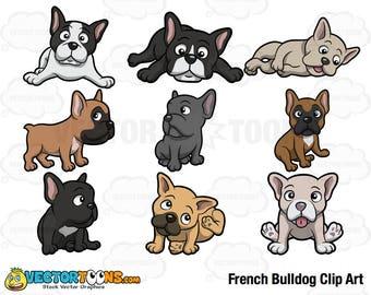 French Bulldog Clip Art, Digital Clipart, Digital Graphics
