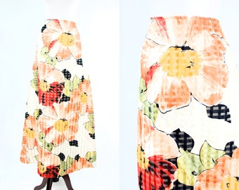 1970's Flower Print High-waisted Satin Maxi Skirt