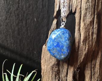 Lapis Lazuli Necklace, Lapis Lazuli Pendant, Raw Crystal Necklace, Boho Crystal Pendant, Crystal Healing Necklace, gift for him