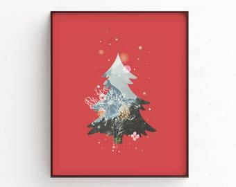 Christmas Illustration Christmas Print Christmas Gift Winter Decor Holiday Prints Winter Art Christmas Poster Christmas Wall Art  sc 1 st  Etsy & Christmas wall art | Etsy