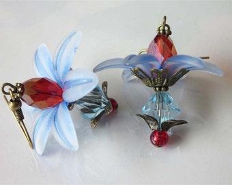 Blue Flower Earrings, Modern Beaded Crystal Jewelry, Blue Lucite Flower Dangle, Red Crystal Earrings, Flower Jewelry