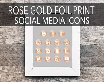 Rose Gold Foil Print Social Media Icons |Social Sharing Icons, Social Media Buttons, Social Media Vectors, Gold Social Icons, Blog Icons