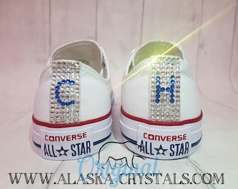 Custom Shoes, Converse Swarovski, Bridal Sneakers, Rhinestone Crystal, Prom Bling, Personalized Flats, Wedding Converse,Bedazzle Quinceañera