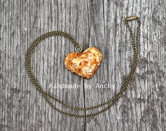 Real gold in heart shaped crystal clear resin pendant with antique bronze necklace/Resin jewelry/Unique jewelry/Heart shaped jewelry*
