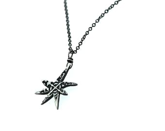 star necklace . bohemian silver star necklace pendant . 7 point star necklace . petite talisman by peacesofindigo . ready to ship