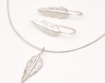 Feather Jewelry Set, Set Plume Jewelry, Silver Wisdom Jewelry, Silver Leaf Set, Necklace Earring Set, Silver Jewelry Set handmade kornelia