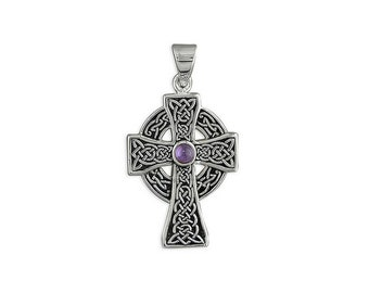Eric Celtic Cross Necklace, Sterling Silver, Amethyst, Celtic Cross, Gift for Man, Cross for Man, Celtic Cross for Man, Silver Celtic Cross