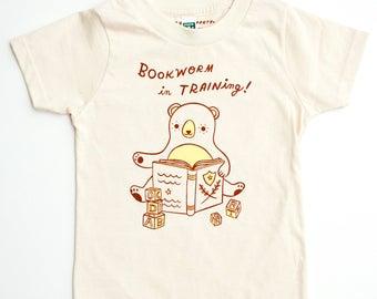 Organic kids clothes - bookworm gifts, book lover shirt, reading t shirt, toddler shirts, boy girl party, organic kids shirts, reading shirt