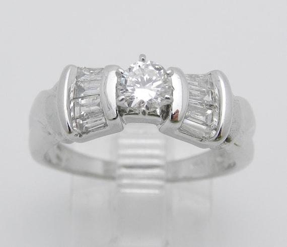 Diamond Engagement Ring 14K White Gold Round Brilliant F VS2 Size 6.75