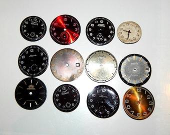 Set of 12   Vintage Watch Faces, Lot, Steampunk supplies, Steampunk parts   #et 583