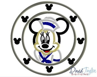 Porthole Minnie - 4x4, 5x7 and 6x10 in 7 formats - Applique - Instant Download - David Taylor Digitizing