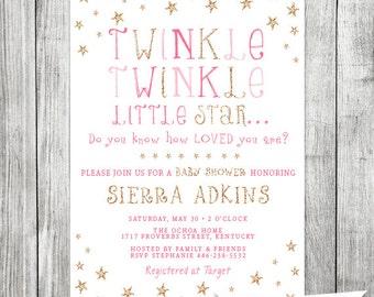 Little Girl Twinkle Twinkle Little Star Baby Shower Invite - 5x7 JPG