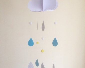 Baby Mobile - Rain drop Baby Mobile, Cloud Mobile, Hanging Baby Mobile, Nursery Mobile, 3D Paper Mobile