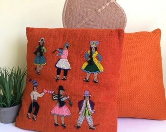 Vintage Orange Pillow Set, Embroidered Pillow, South America, Musicians, Handmade in Bolivia