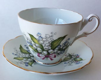 Vintage Regency English Tea Cup and Saucer Lily of the Valley Pink Bow