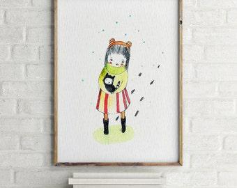 Girls room decor, Art for girls room, girls room art, art for kids room, girls wall decor, wall art for girls, cat lover gift, cat wall art