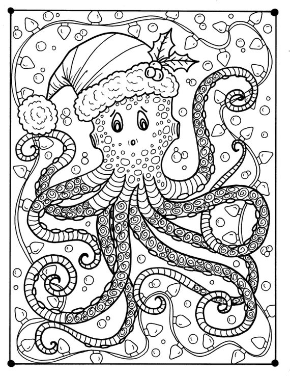 Octopus christmas coloring page adult color holidays beach for Adult christmas coloring pages