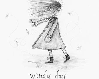 Original windy day drawing, small illustration of a girl or boy walking in the wind. Children's wall art. One of a kind art by Heidi Burton