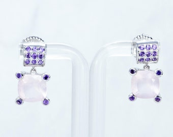 Pink Sapphire Suspended Earrings with Amethyst on Sterling Silver, Dangle and Drop Earrings