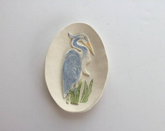 Blue Heron Tray/Unique Ceramic Spoon Rest/Hand Carved Spoon Holder/Handmade Pottery Spoon Rest Holder/Blue Heron Pottery/Blue Heron Dish