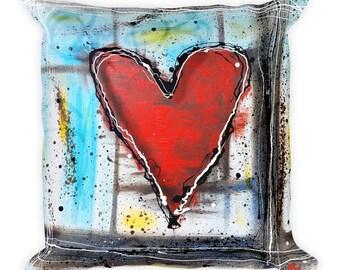 Love Heals All- Heart Pillow from Original Artwork- Designer Abstract Pillow, Decorative Pillow, Throw Pillow for Modern Home Decor