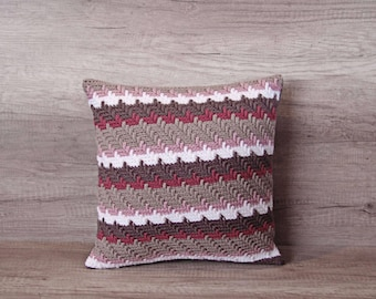 Red beige cushion cover crochet retro colorful hippie style, cute crochet pink beige white cushion pillow cover 16 x 16 inch  (40 x 40 )