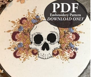 PDF Instant Download Pattern for Floral Skull Embroidery