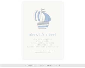 Nautical Baby Boy Shower Invitation | Nautical Baby Shower Invitation Download, Printable Template, Diaper Raffle, Book Request, Editable