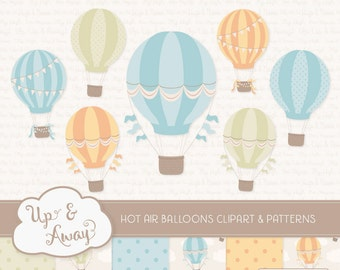Vintage Boy Hot Air Balloons Clipart with Digital Papers - vintage hot air balloons clipart, hot air balloons vectors